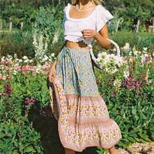 Maxi Skirts Boho Happie Ethnic Floral-Print Green Cotton Women High-Elastic Beach Ladies
