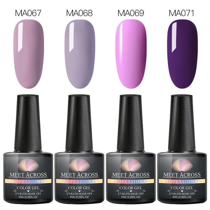 MEET ACROSS 4pcs Glitter Nail Gel Polish Set All For Manicure Nails Art Semi Permanent UV Gel Polish Nail Design Base Top Coat