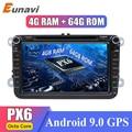 Eunavi 2 din أندرويد 9 ثماني النواة 4GB 64GB مشغل أسطوانات للسيارة لشركة فولكس فاجن باسات CC بولو جولف 5 6 توران EOS T5 شاران جيتا تيجوان راديو GPS DSP