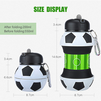 550ML Soccer Ball Sports Water Bottle Collapsible Football Shaped Silicone Drinking Cup For Camping Travel Team Sports Kids Gift