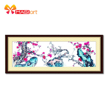 Cross stitch kits Embroidery needlework sets 11CT water soluble canvas patterns 14CT Chinese style wintersweet painting-NCMF131