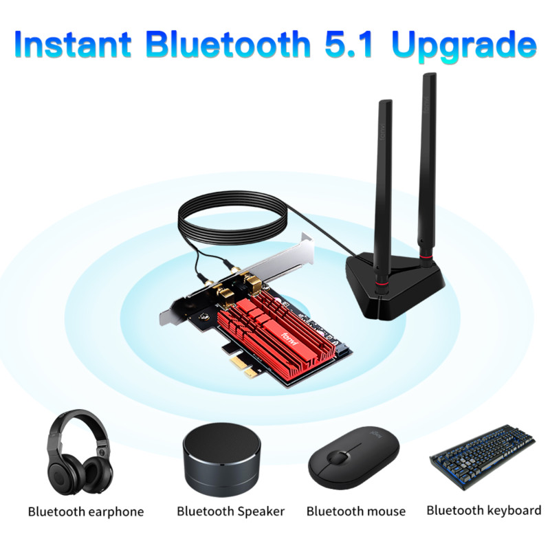 Купить wi fi адаптер wifi6 3000 мбит/с 24/5 ггц 802 11ac/ax bluetooth