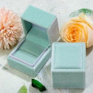 Image 4 - GZXSJG 10 Uds. De cajas de joyería de terciopelo, caja de anillo personalizada rectangular rosa y verde para boda, regalo de novia, compromiso vintage
