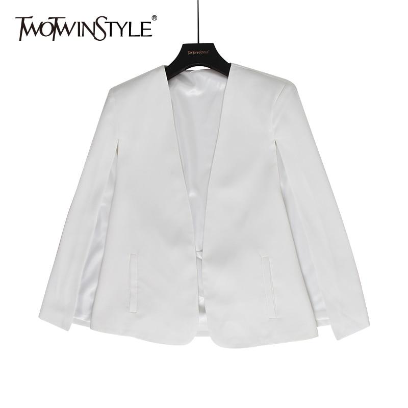 TWOTWINSTYLE Split Elegant Women's Blazer V Neck Long Sleeve Solid Loose Autumn Cloak Blazers Female 2020 Fashion Clothing