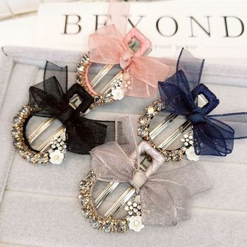 1PC Korea Yarn Bow Hair Clips For Girls Women Metal Crystal Rhinestone Sweet Hairpin Barrette Fashion Hair Accessories  dropship fashion 1pc shining stars hairpin women graceful exquesite transparent candy color sweet girls hair clips