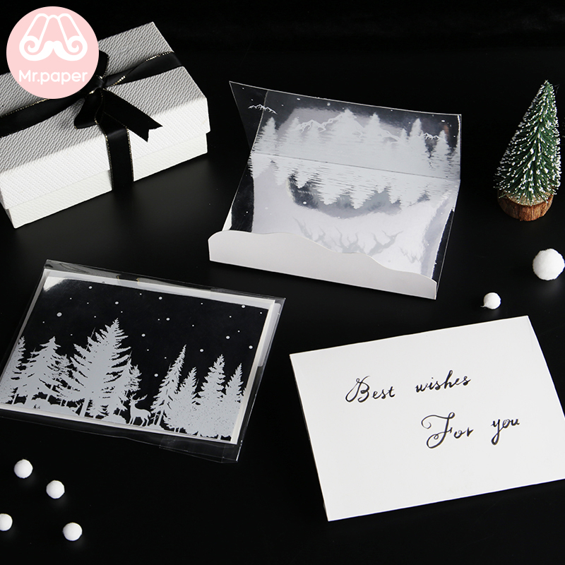 Mr Paper 6 Designs Mirror Envelope Greeting Card Delicate Dreamy New Year Card Envelope Dream Mirror Christmas Birthday Gift