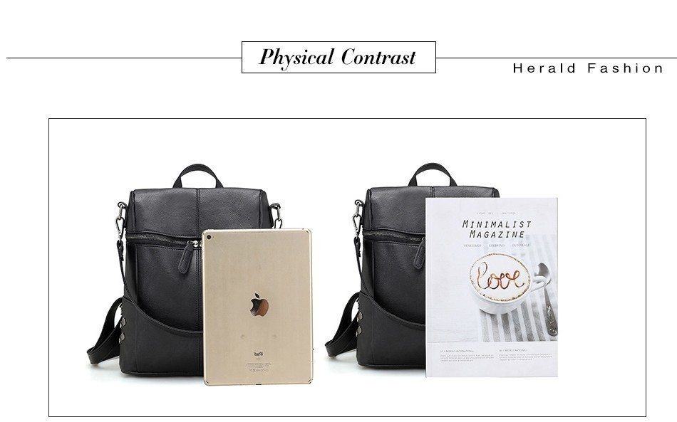 H59d3c8b3bdd5436da42fb32006fa02712 Herald Fashion Women's PU Leather Backpack School Bags For Teenage Girls Large Capacity Backpack Laptop Bag Drop Shipping
