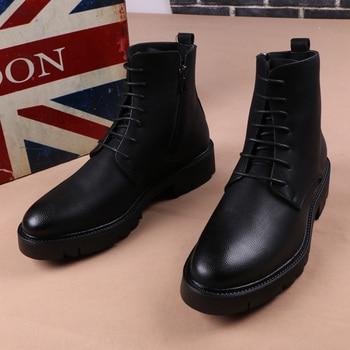 Botas de plataforma de cuero genuino para hombre, botines masculinos de marca...