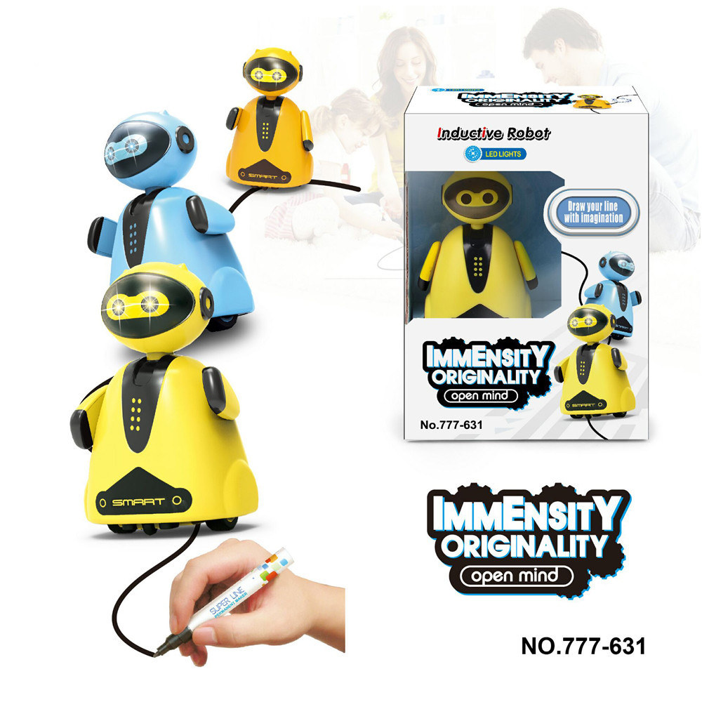 Novelty Inductive Car Follow Any Drawn Line Magic Pen Inductive Robot Penguin Model Children Kids Toy Gift