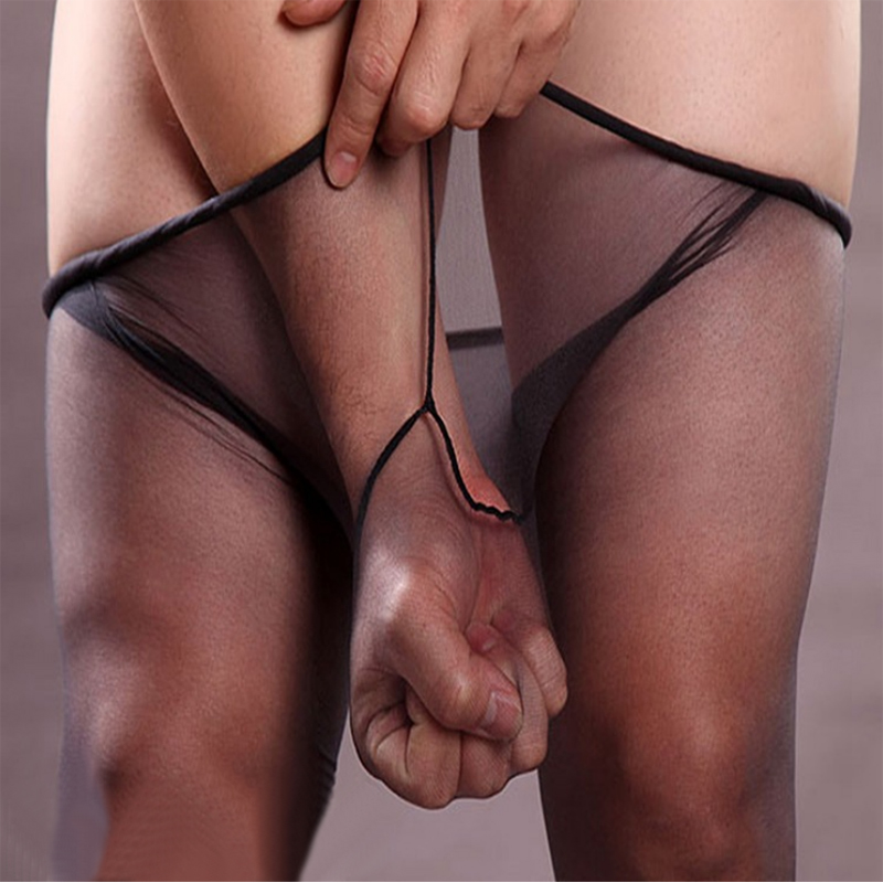 Stockings Men Underwear Lingerie Hosiery Tights Pantyhose Coffee Elastic Penis Transparent title=