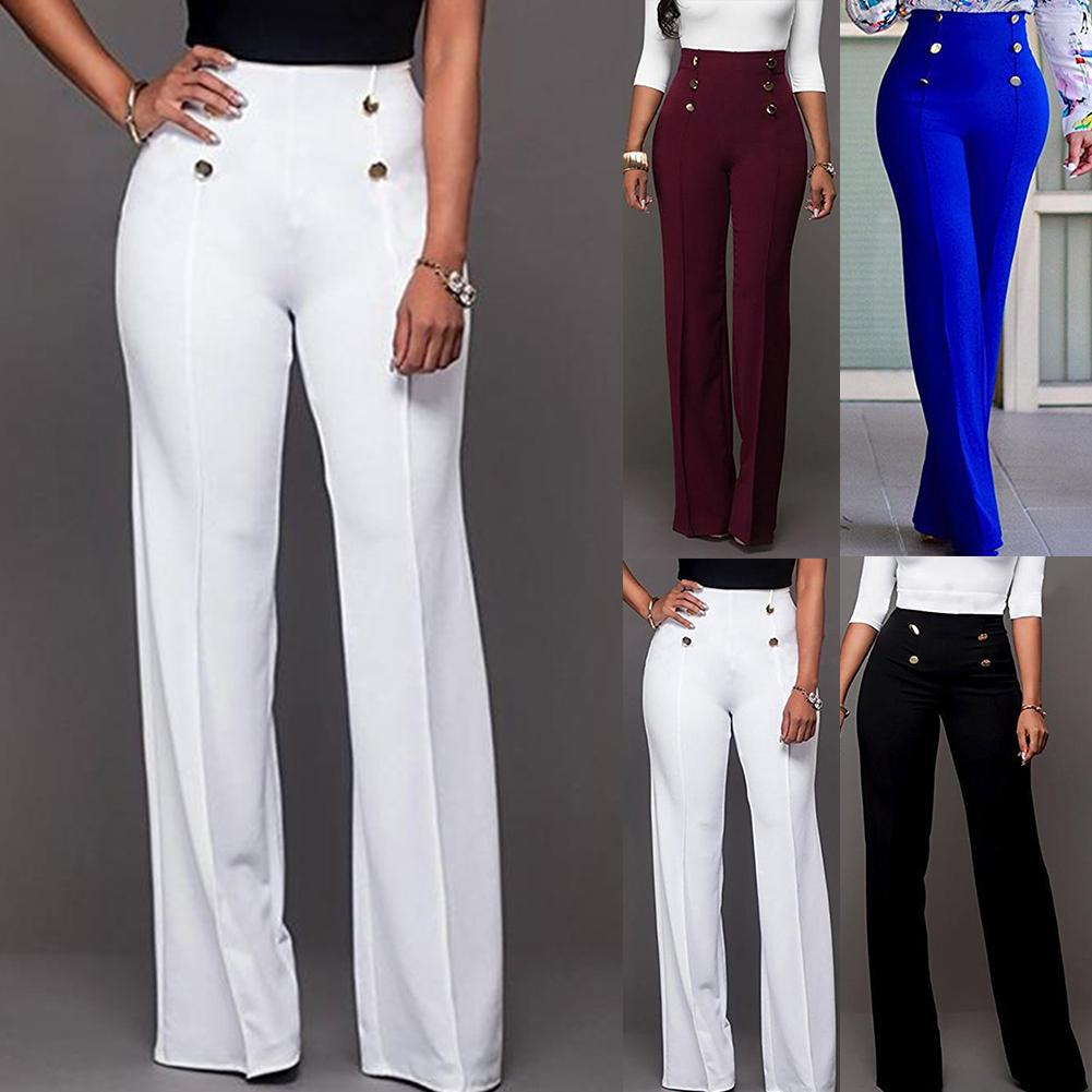 New Women Solid Color Wide Leg Pants High Waist Flared Trousers Slim Loose Slacks