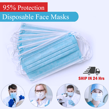 Disposable Face Mouth Masks 3 Layers Protective Filter Non Woven  Earloop Respirator Dust proof Mask