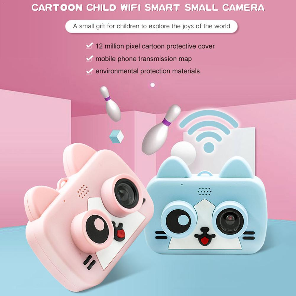 Children Digital Cameras Fun Cartoon Video Camera IPS HD 1200W 2-Inch Wifi Sync Cell Phone Photo for Kids Gift image