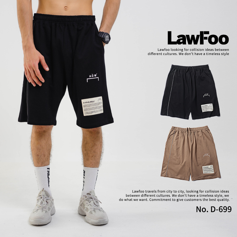 Lawfoo Men'S Wear 2019 Spring And Summer New Style Europe And America Popular Brand Small Lettered Logo Printed Men Shorts Casua