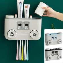 АВТО СЖАТИЕ Диспенсер зубной пасты, для зубной щетки держатель 4 стаканов на присоске Комплект Аксессуары для ванной комнаты настенный стеллаж для хранения