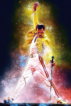 W165 Freddie Mercury Rock Music Band Star Hot Painting Queen Silk Fabric Wall Poster Art Decor Sticker Bright image