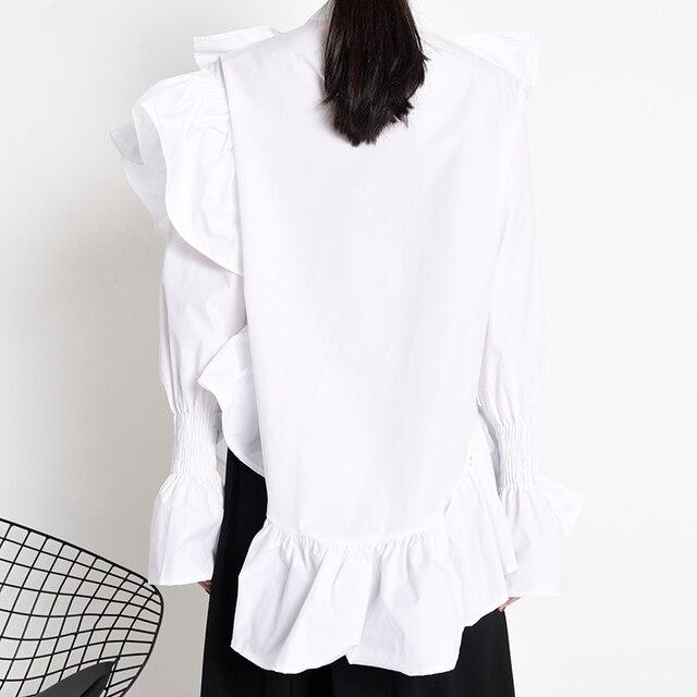 [EAM] Women Ruffles Irregular Blouse New Stand Collar Long Sleeve Loose Fit Shirt Fashion Tide Spring Autumn 2021 1Z19900 6