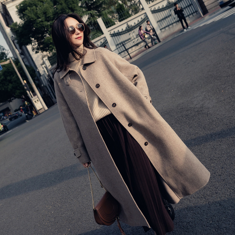 Single Breasted Turn-down Collar Coat And Jacket England Style Sashes Women Long Cashmer Coat Loose Solid Women's Woolen Jacket