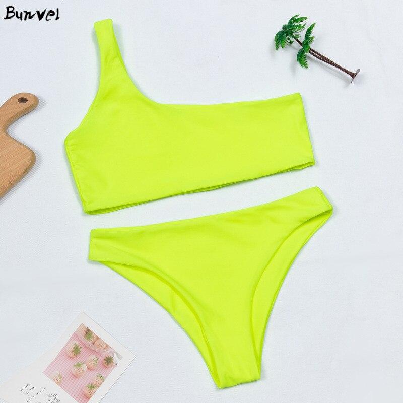 Bunvel Neon Green Bikini Women 2020 Two Piece Swimsuit Swimming Suit Summer One Shoulder Solid Color Beach Wear Swimwear