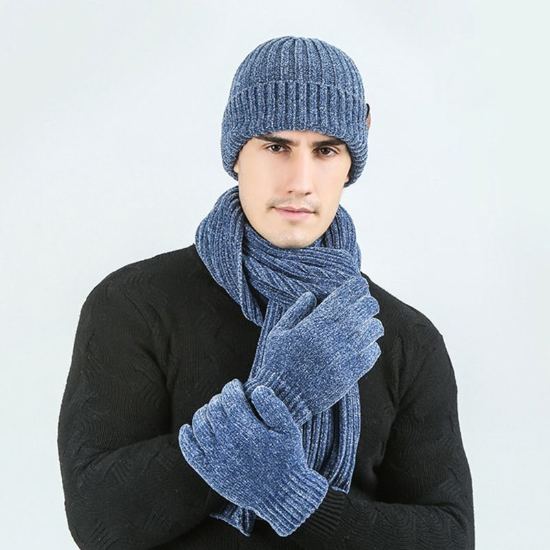 3 Pcs/Set Unisex Winter Ribbed Knit Long Scarf Beanie Hat Touch Screen Gloves