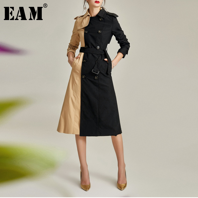 [EAM] Women Spliced Constant Color Belt Trench New Lapel Long Sleeve Loose Fit Windbreaker Fashion Tide Autumn Winter 2019 1A416