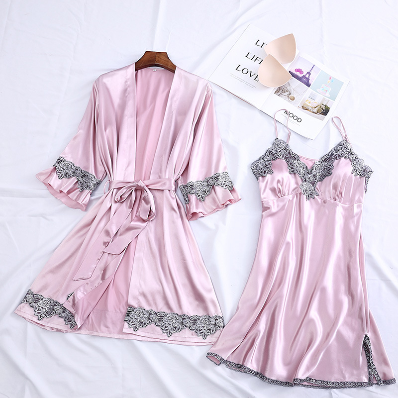 4PCS Satin Sleepwear Lady Pajamas Suit Nighty&Robe Suit Sexy Intimate Lingerie Casual Bridal Wedding Gift Homewear Nightgown