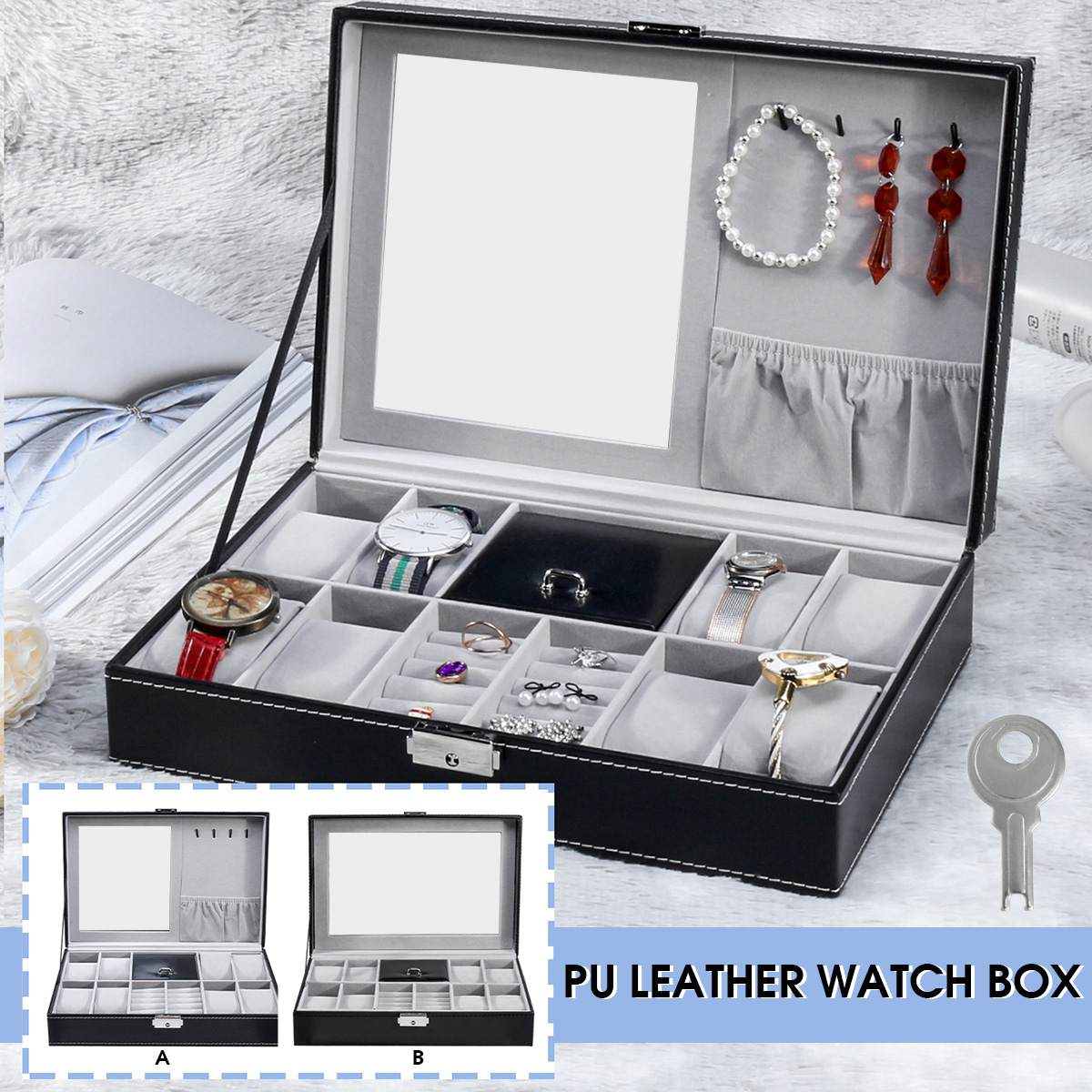 NEW 2 In One 8 Grids+3 Mixed Grids Storage Black PU Leather Watch Boxes Organizer Box Luxury Jewelry Ring Display Watch Case