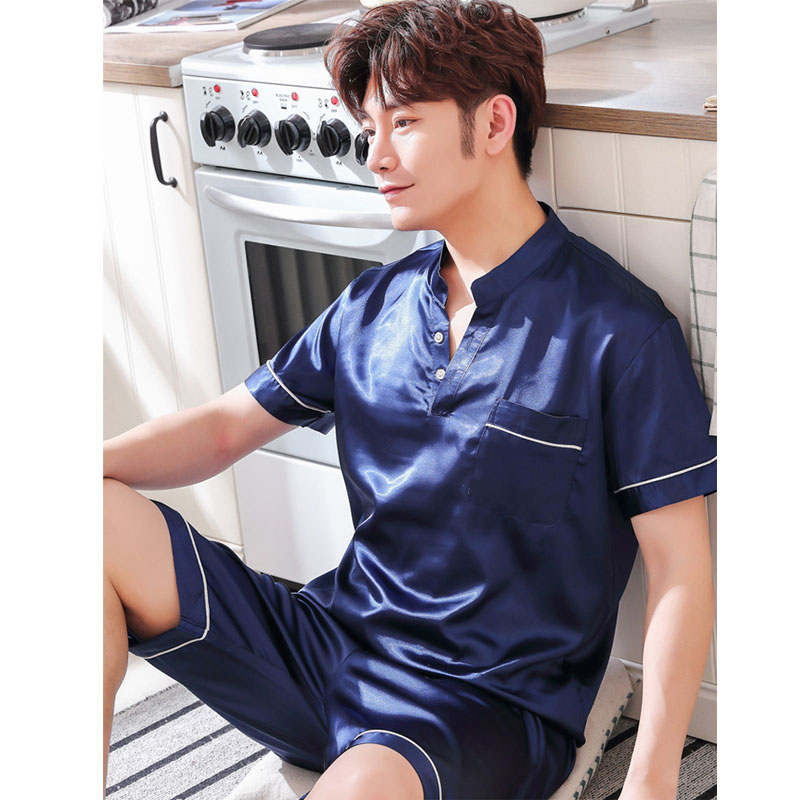 Men Silk Pajamas 2019new Summer Pyjama Men Shorts Short-sleeved Thin Stain Pajamas Men Sleepwear Leisure Homewear Suit Plus Size