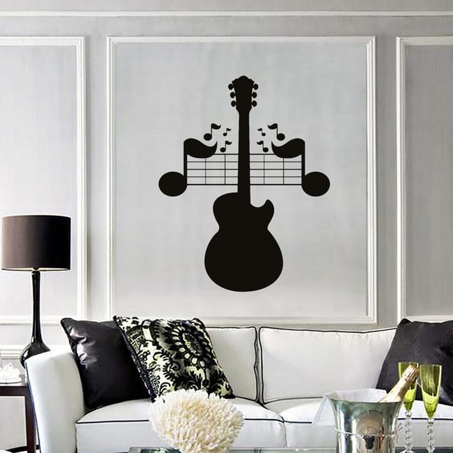Wall Decal Guitar Notes Music Rock Pop Songs Mural Bedroom Living Room Music Room Concert Interior Decor Vinyl Wall Sticker S742 image