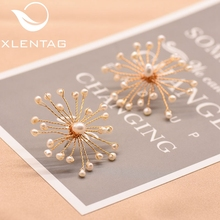 XlentAg Natural Fresh Water Pearl Stone Handmade Flower Ear Clip For Women Classic Stud Earrings Luxury Fine Jewelry GE0592