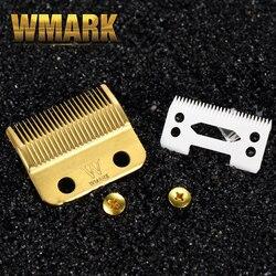 Wmark lâmina de tosquiadeira cabelo profissional alta caixa aço clipper acessórios dourado com lâmina cerâmica para clipper sem fio