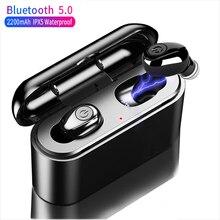 Amorno האמיתי Bluetooth אלחוטי אוזניות 5D סטריאו Earbud מיני TWS עמיד למים Headfree אפרכסת 2200mAh כוח בנק עבור טלפון