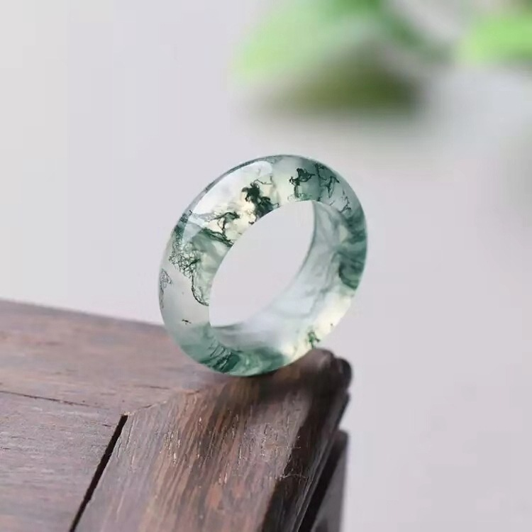 Agate Ring Jewelry Chalcedony-Ring Natural-Stone Real-Jade Add-Certificate Water-Grass title=