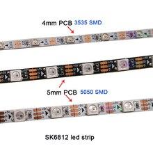 цена на 1m DC5V 4mm/5mm/7mm PCB addressable SK6812 5050 SMD 3535 RGB flexible LED strip 60/144 pixels/m IP30 led strip free shipping