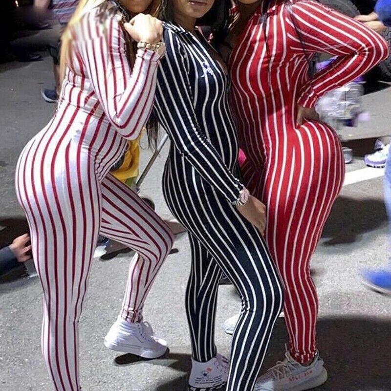 US STOCK Women Jumpsuit Striped Women Summer Casual Long Sleeve Romper Clubwear