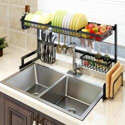 Prateleira da cozinha organizador prato de secagem rack sobre pia utensílios titular tigela prato drenagem prateleira cozinha armazenamento bancada organizador