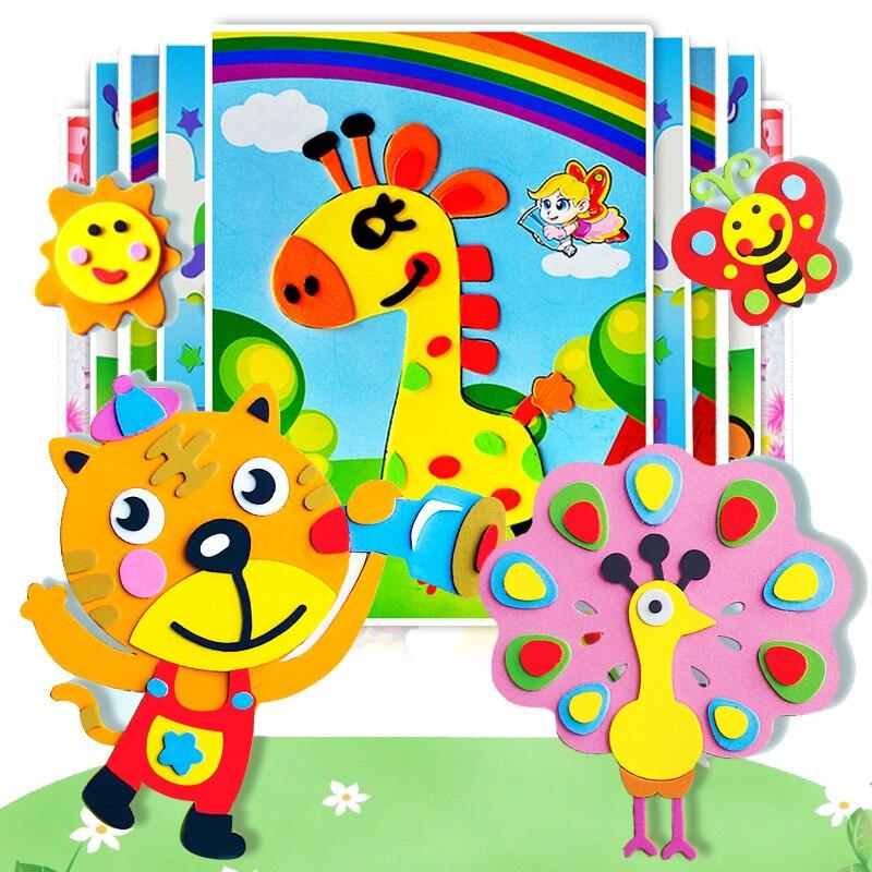 10 pçs 3d diy eva espuma adesivos quebra-cabeça jogos dos desenhos animados animais aprendizagem educação brinquedos para crianças presentes artesanato arte brinquedo adesivo