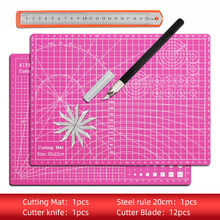 Knife-Tool-Set Cutting-Mat-Set Cut-Pad Patchwork Self-Healing PVC Double-Sided Ruler