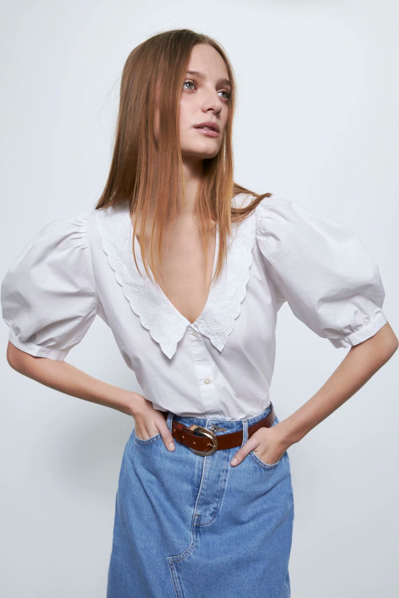 2020 New Spring Summer European Embroidered Poplin Female Shirt Zaraing Vadiming Sheining Women's White Shirt BGB2081