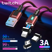 Twitch-Cable magnético 3A de carga rápida, Cable Micro USB tipo c para iPhone, Samsung, Huawei, Xiaomi, Cargador usb magnético rápido