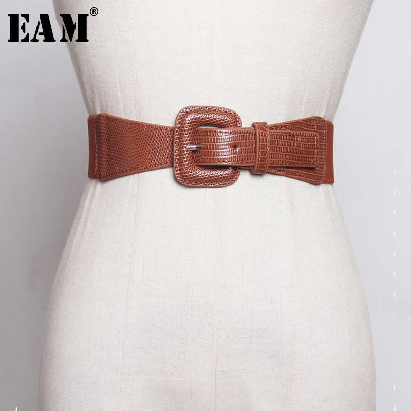 [EAM] Multicolor Black Pu Leather Elastic Wide Belt Personality Women New Fashion Tide All-match Autumn Winter 2019 1B376
