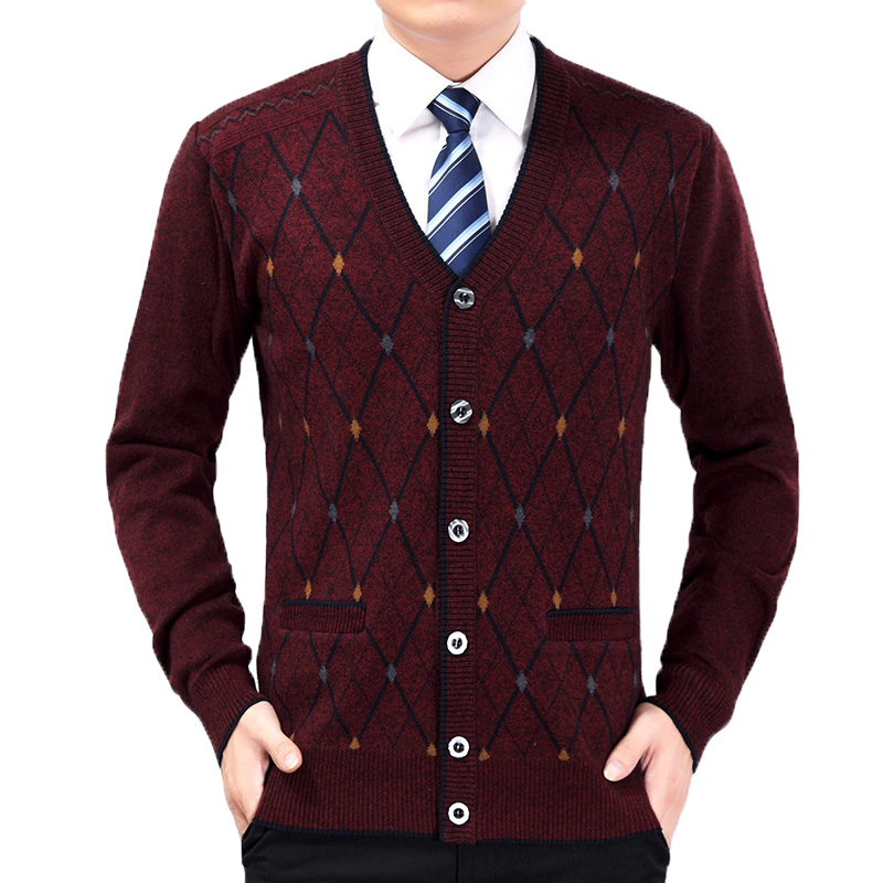 Automne hommes élégant Smart décontracté Cardiagan chandails rouge gris Camel Plaid texturé tricoté hauts mâle col en v bouton bas Kinitwear