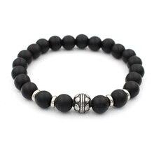 Модные шармы из нержавеющей стали 8 мм черный камень стрейч браслет из бисера для мужчин и женщин