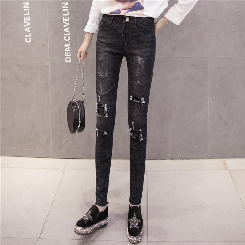 6670 # South Korea With Holes Jeans Women's Loose-Fit Slimming Pencil Pants Beggar Capri Pants High-waisted Skinny Pants