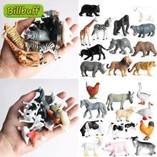12 Uds simulación modelo de Animal salvaje juguete Mini animales, León, tigre pollo pato vaca aves de corral niño PVC figuras muñecas juguetes para niños