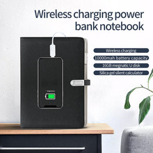 A5 Wireless Charging Folder Portfolio Multi-function Organizer Office Manager Clip Writing Pad With U Disk Calculator