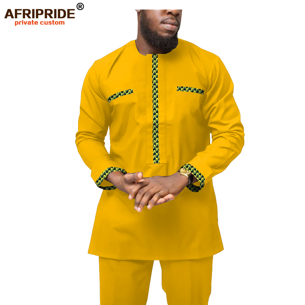 2019 African Clothing For Men Ankara Shirts And Print Pants Set Wax Batik Attire Dashiki Men Tracksuit Wear AFRIPRIDE A1916050