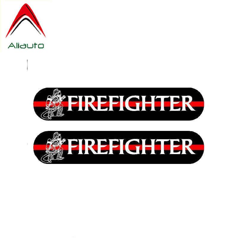 Aliauto 2 X забавная Автомобильная наклейка пожарный Светоотражающая ПВХ наклейка для peugeot Skoda Volvo Honda Civic Mitsubishi Lada Kia, 14 см * 3 см