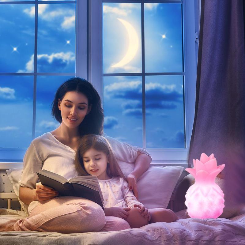 Cartoon Pineapple LED Night Light Table Enamel Lamp Environmental Protection No Fever Soft Light Children Bedroom Home Decor