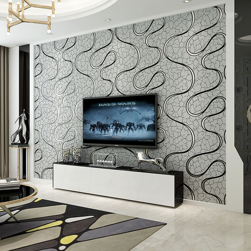 Modern Minimalist Curve Article Non-woven Wallpaper Bedroom 3D European Style Wallpaper Living Room Television Background Wall W